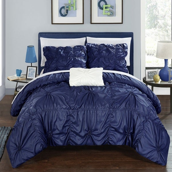 Chic Home 8-Piece Benedict Navy Bed in a Bag Duvet Set