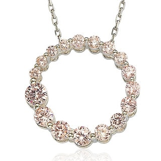 Suzy Levian Sterling Silver Pink Cubic Zirconia Circle Journey Necklace