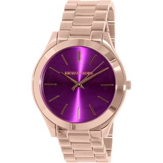 Michael Kors Women's Purple Runway MK3293 Rose Gold Stainless-steel Quartz Watch|https://ak1.ostkcdn.com/images/products/12777337/P19551035.jpg?impolicy=medium