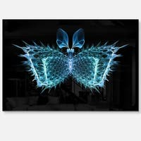 Blue Fractal Butterfly in Dark - Large Abstract Art Glossy Metal Wall Art