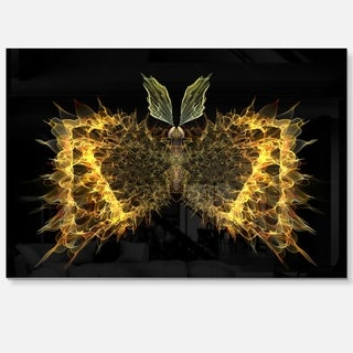 Golden Fractal Butterfly in Dark - Large Abstract Art Glossy Metal Wall Art