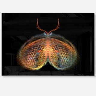 Yellow Red Fractal Butterfly in Dark - Large Abstract Art Glossy Metal Wall Art