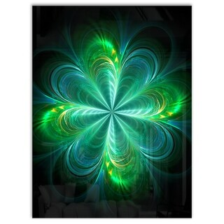 Green Fractal Flower Blooming - Large Abstract Art Glossy Metal Wall Art