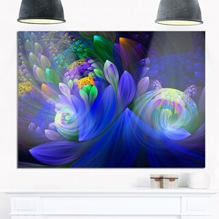 Blue Fractal Flower Bouquet - Floral Large Abstract Art Glossy Metal Wall Art