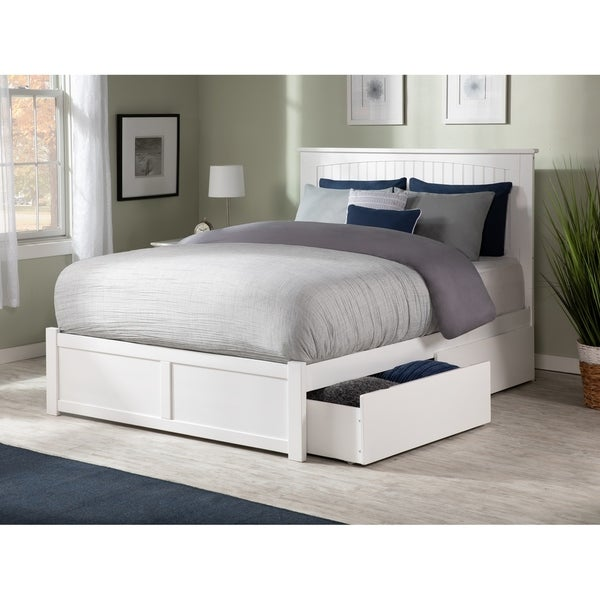 Nantucket Queen Platform Bed with Flat Panel Foot Board and 2 Urban Bed Drawers in White