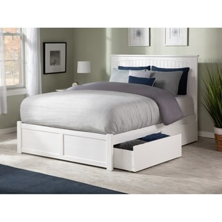 Atlantic Nantucket White Wooden Flat Panel Queen Foot Board With 2 Urban Bed Drawers