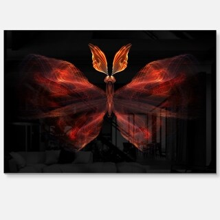 Red Fractal Butterfly in Dark - Large Abstract Art Glossy Metal Wall Art