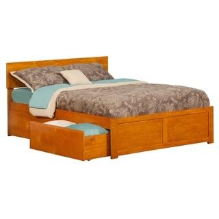 Atlantic Orlando Caramel Latte Wood Full Flat-panel Footboard Bed With 2 Drawers