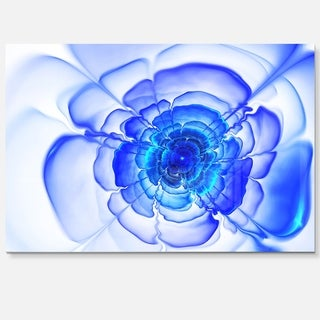 Large Blue Fractal Flower Petals - Floral Large Abstract Art Glossy Metal Wall Art