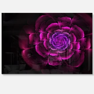 Fractal Purple Rose in Dark - Floral Large Abstract Art Glossy Metal Wall Art