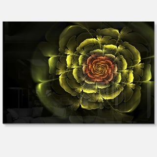 Fractal Yellow Rose in Dark - Floral Large Abstract Art Glossy Metal Wall Art