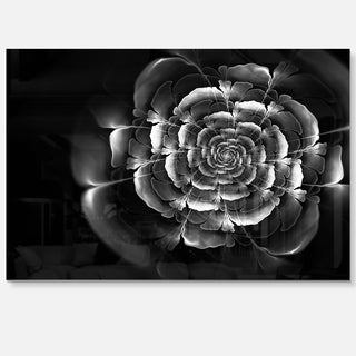 Fractal Silver Rose in Dark - Floral Large Abstract Art Glossy Metal Wall Art