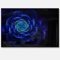 Fractal Silver Blue in Dark - Floral Large Abstract Art Glossy Metal Wall Art