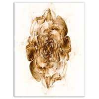 Brown Fractal Flower in White - Floral Digital Art Glossy Metal Wall Art
