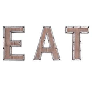 Ashville 'EAT' Metal and Wood Wall Art