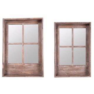 Brown Wood Window 2-piece Shelf Set