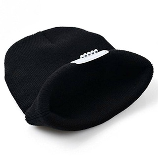 Unisex Black Knit Built-in LED Flashlight Beanie Winter Hat