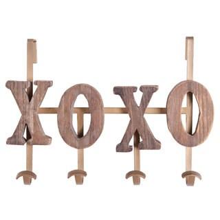 Brown Wood XOXO Coat Hook Wall Rack
