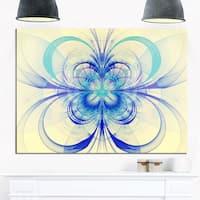 Blue Fractal Flower Pattern - Floral Digital Art Glossy Metal Wall Art