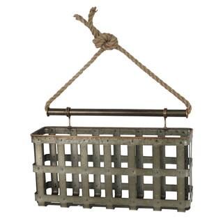 Silver Galvanized Lattice Wall Basket