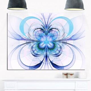 Turquoise Fractal Flower Pattern - Floral Digital Art Glossy Metal Wall Art