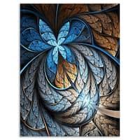Blue Brown Fractal Flower Pattern - Floral Digital Art Glossy Metal Wall Art