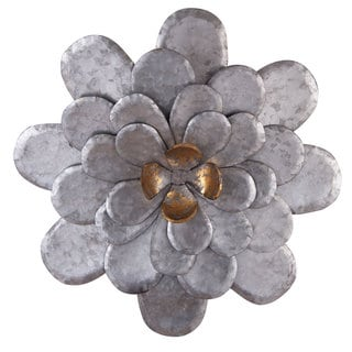 Galvanized Metal Roadside Wall Flower Sculpture
