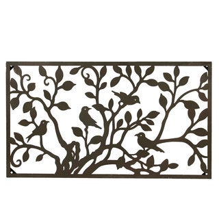 Metal Birds on a Tree Horizontal Wall Art