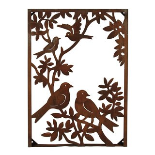 Metal Birds on a Tree Vertical Wall Art