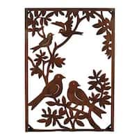Metal Birds on a Tree Vertical Wall Art