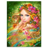 Fairy Woman with Colorful Flowers - Floral Digital Art Glossy Metal Wall Art