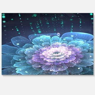 Fractal Flower with Water Drops - Floral Digital Art Glossy Metal Wall Art