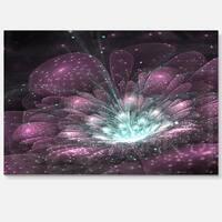 Purple Fractal Flower - Floral Digital Art Glossy Metal Wall Art