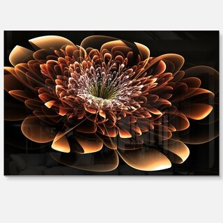 Brown Fractal Flower - Floral Digital Art Glossy Metal Wall Art