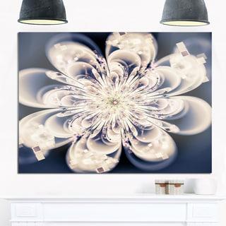 White Fractal Flower - Floral Digital Art Glossy Metal Wall Art