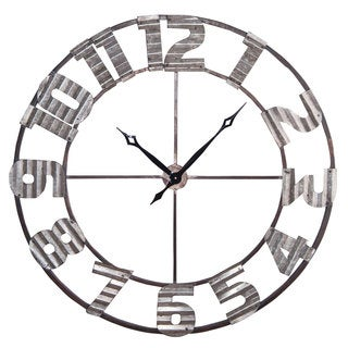 Ashville Silver Corrugated Metal Wall Clock
