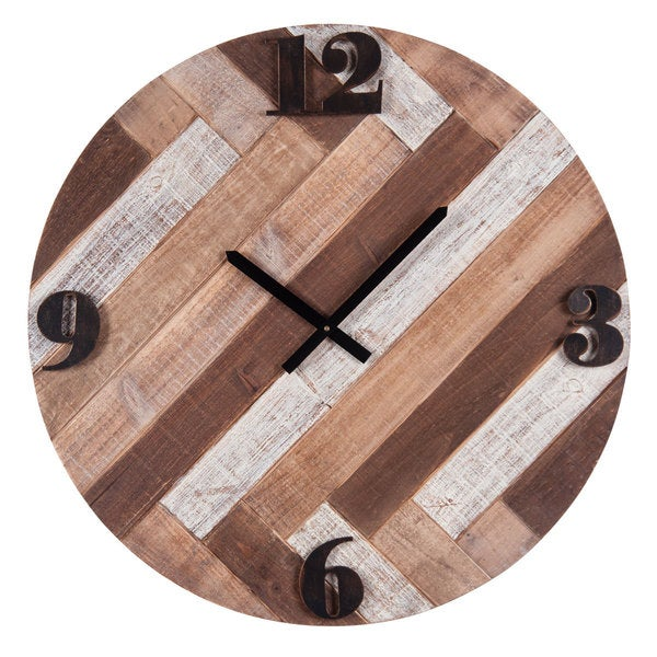 Brown Wood/Metal Boardwalk Wall Clock