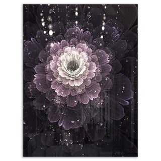 Black Flower with Silver Details - Floral Digital Art Glossy Metal Wall Art