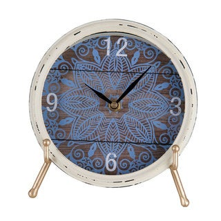 Blue/White Distressed Round Tabletop Clock