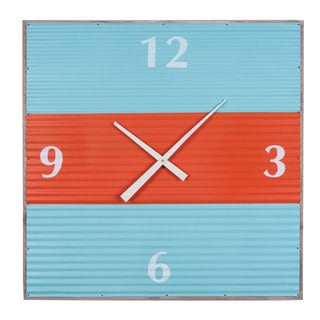 Blue Extra-Large Corrugated Wall Clock