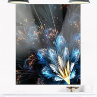 Blue Flower with Golden Details - Floral Digital Art Glossy Metal Wall Art