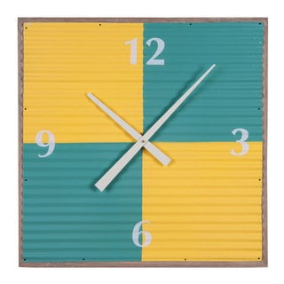 Multicolored Wood/Metal Corrugated Wall Clock