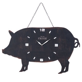 Black Metal Hanging Pig Wall Clock
