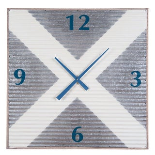Galvanized Metal/Wood X-large Corrugated Wall Clock