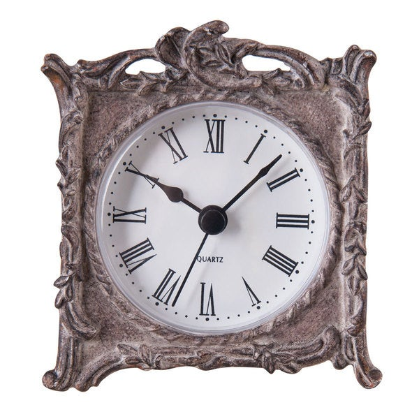 Mylie Silvertone Resin Tabletop Clock