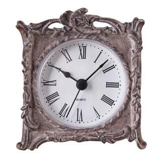 Mylie Silvertone Resin Tabletop Clock
