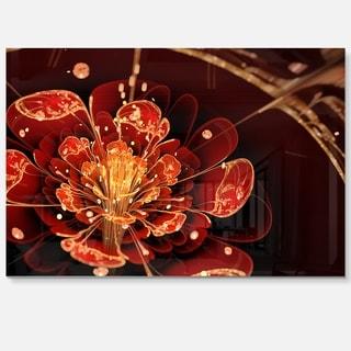 Flower with Red, Golden Petals - Floral Digital Art Glossy Metal Wall Art