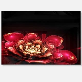 Fractal Pink Flower - Floral Digital Art Glossy Metal Wall Art