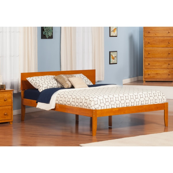 Orlando King Platform Bed with Open Foot Board in Caramel