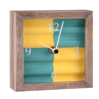 Green Corrugated Tabletop Clock